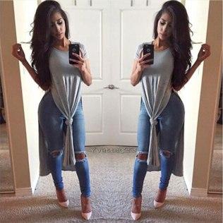 Mulheres-vestido-2015-Sexy-de-alta-garfo-aberto-vestido-longo-de-manga-curta-T-camisa-Maxi